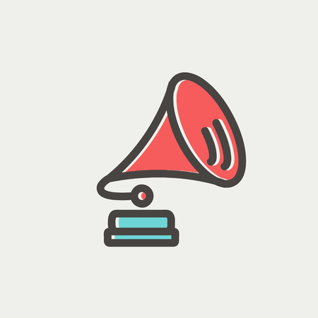 Gramophone icon thin line for web and mobile, modern minimalistic flat design. Vector icon with dark grey outline and offset colour on light grey background.