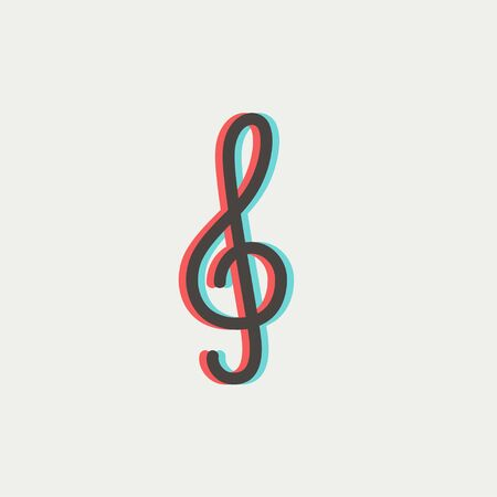 chord: G-clef icon thin line for web and mobile, modern minimalistic flat design. Vector icon with dark grey outline and offset colour on light grey background. Illustration