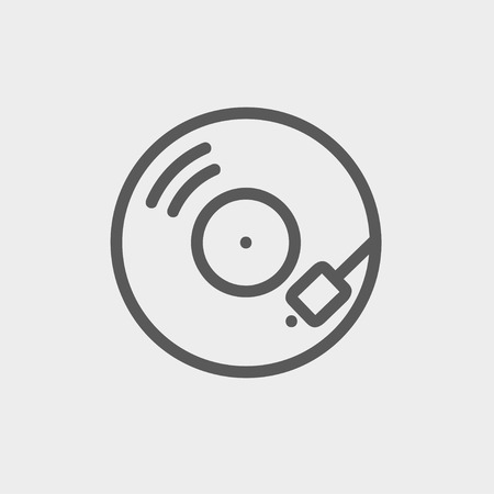 Phonograph turntable icon thin line for web and mobile, modern minimalistic flat design. Vector dark grey icon on light grey background. Illustration