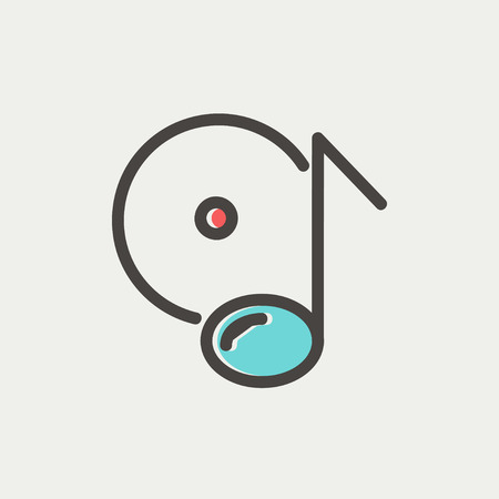 remix: Note with phonograph record icon thin line for web and mobile, modern minimalistic flat design. Vector icon with dark grey outline and offset colour on light grey background.