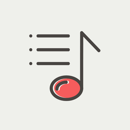 bar line: Musical note with bar line icon thin line for web and mobile, modern minimalistic flat design. Vector icon with dark grey outline and offset colour on light grey background. Illustration