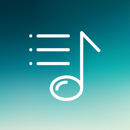 bar line: Musical note with bar line icon thin line for web and mobile, modern minimalistic flat design. Vector white icon on gradient mesh background.