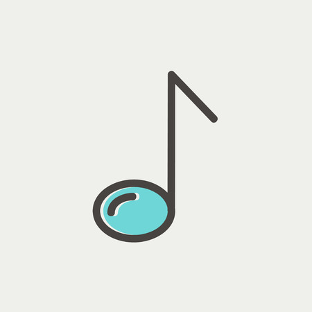 eight note: Eight note icon thin line for web and mobile, modern minimalistic flat design. Vector icon with dark grey outline and offset colour on light grey background.