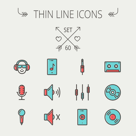 Music and entertainment thin line icon set for web and mobile. Set include-loudspeaker, headphone, microphone retro, cassette tape, control volume, vinyl disc  icons. Modern minimalistic flat design. Vector icon with dark grey outline and offset colour on