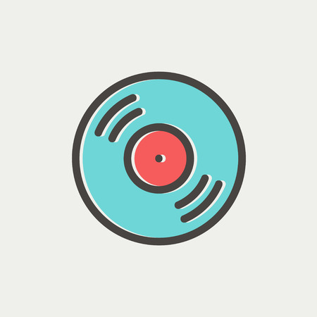 Vinyl disc icon thin line for web and mobile, modern minimalistic flat design. Vector icon with dark grey outline and offset colour on light grey background.