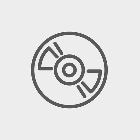 hi fi: Reel tape deck player recorder icon thin line for web and mobile, modern minimalistic flat design. Vector dark grey icon on light grey background.