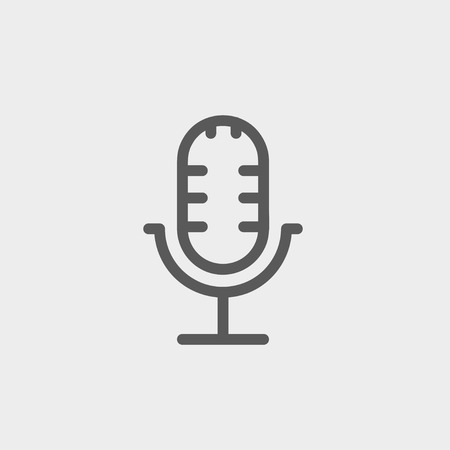 Retro microphone icon thin line for web and mobile, modern minimalistic flat design. Vector dark grey icon on light grey background. Vector