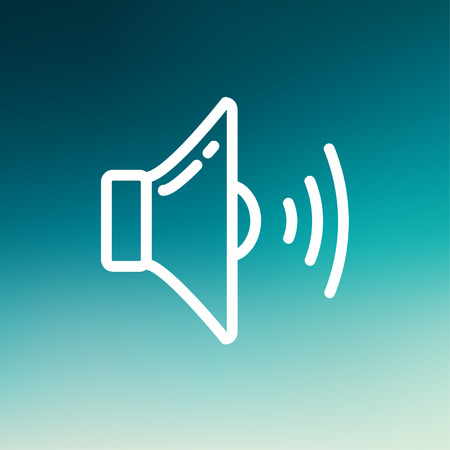 Loudspeaker icon thin line for web and mobile, modern minimalistic flat design. Vector white icon on gradient mesh background. Stock Vector - 40152255