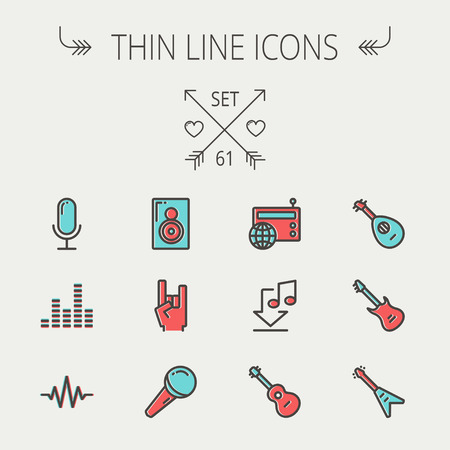 old phone: Music and entertainment thin line icon set for web and mobile. Set include-speaker rock hand, wireless mic, sound wave beat, equalizer, radio, download music, guitars    icons. Modern minimalistic flat design. Vector icon with dark grey outline and offset