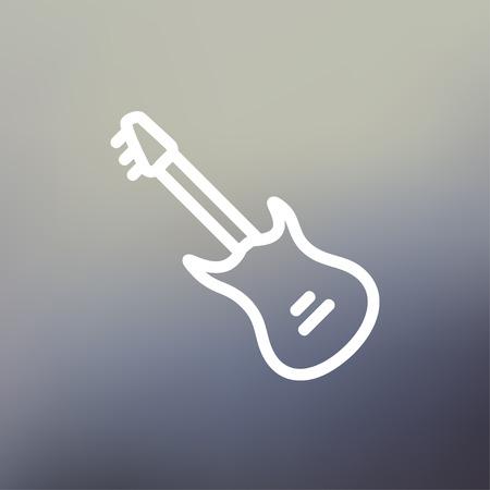 빈티지 일렉트릭 기타 아이콘 웹 및 모바일, 현대 최소한의 평면 디자인 얇은 라인. 벡터 그라디언트 메쉬 배경에 흰색 아이콘입니다.