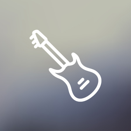 Vintage electric guitar icon thin line for web and mobile, modern minimalistic flat design. Vector white icon on gradient mesh background.
