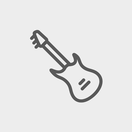 Vintage electric guitar icon thin line for web and mobile, modern minimalistic flat design. Vector dark grey icon on light grey background. 向量圖像