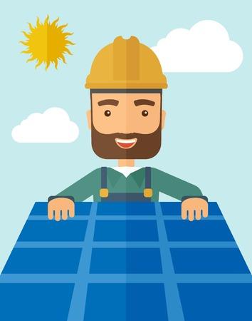 대체 에너지 시스템으로 지붕에 태양 전지 패널을 넣는 남자. 파스텔 팔레트, 흐릿한 구름과 함께 부드러운 푸른 색조 배경으로 현대적인 스타일.