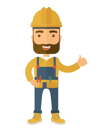 contemporary style: A happy carpenter standing wearing hard hat and overalls. A Contemporary style. Vector flat design illustration isolated white background. Vertical layout.
