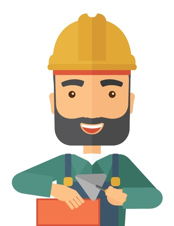 A happy construction mason worker with trowel in hand wearing hard hat. A Contemporary style. Vector flat design illustration isolated white background. Vertical layout. Ilustração