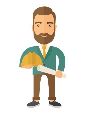 Szczęśliwy młody pracownik budowlany trzyma kask i plan planem. Nowoczesnym stylu. Wektor płaska ilustracji samodzielnie białe tło. układ pionowy.