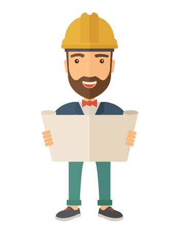 A young hipster engineer holding while reviewing the construction plan. A Contemporary style. Vector flat design illustration isolated white background. Vertical layout.