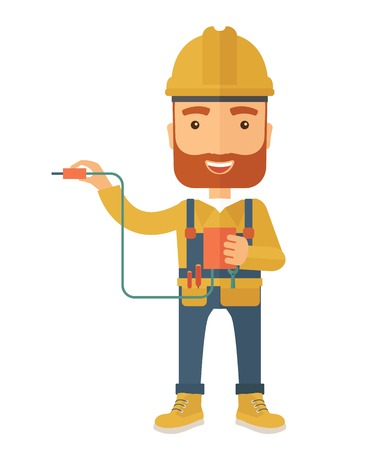 A young electrician holding a power cable plug. A Contemporary style. Vector flat design illustration isolated white background. Vertical layout. Illusztráció