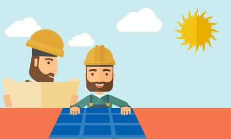 solar panel roof: A man putting a solar panel on the roof as a alternative energy system. A Contemporary style with pastel palette, soft beige tinted background with desaturated cloud.  Vector flat design illustration. Horizontal layout.