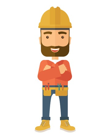 folded arms: A happy and confident worker standing with crossed arms. . A Contemporary style. Vector flat design illustration isolated white background. Vertical layout.