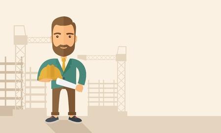 jeunes joyeux: Un jeune travailleur de la construction heureux holding casque et un plan de projet. Un style contemporain avec palette pastel, doux fond teint�e beige. Vector design plat illustration. Disposition horizontale avec un espace de texte dans le c�t� droit. Illustration