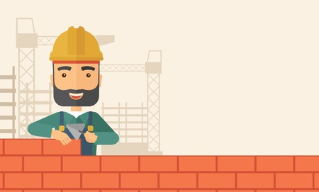 bricklayer: A smiling builder wearing a hard hat buiding a brick wall. A Contemporary style with pastel palette, soft beige tinted background. Vector flat design illustration. Horizontal layout with text space in right side.