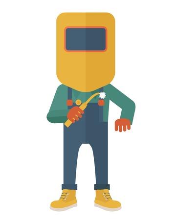 soldador: Un trabajador usando la máscara de soldadura, protección para los ojos utiliza para la soldadura de un metal o acero. Un estilo contemporáneo. Aislado Vector diseño plano ilustración de fondo blanco. Diseño vertical. Vectores