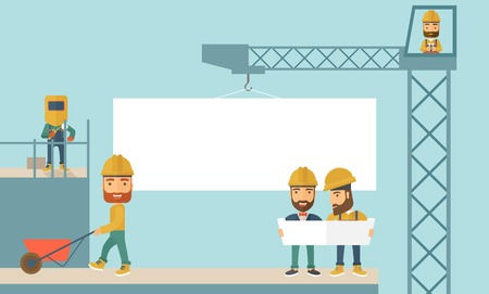 A experienced team workers with white board wearing helmets . A Contemporary style with pastel palette, soft blue tinted background. Vector flat design illustration. Horizontal layout. Çizim