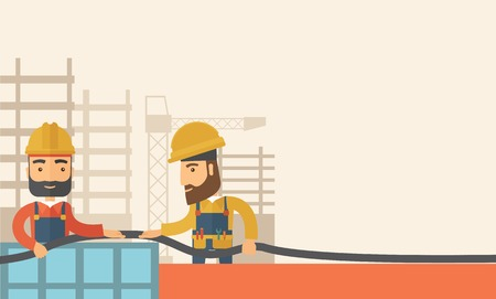 carpentry cartoon: A two hipster builders wearing hard hat for their safety ladders use for construction. A Contemporary style with pastel palette, soft beige tinted background. Vector flat design illustration. Horizontal layout with text space in right side.