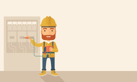 manual test equipment: A hipster Electrician wearing hard hat repairing an electrical panel. A Contemporary style with pastel palette, soft beige tinted background. Vector flat design illustration. Horizontal layout with text space in right side.