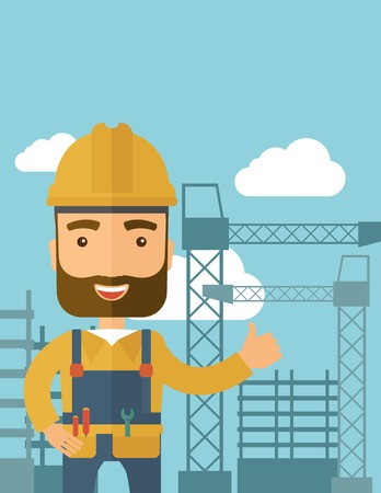 heavy construction: A construction worker standing with crane tower background. A Contemporary style with pastel palette, soft blue tinted background with desaturated clouds. Vector flat design illustration. Vertical layout.