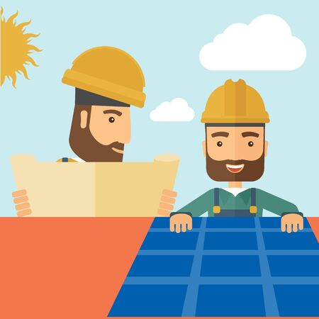 solar panel roof: A man putting a solar panel on the roof as a alternative energy system. A Contemporary style with pastel palette, soft beige tinted background with desaturated cloud.  Vector flat design illustration. Square layout. Illustration
