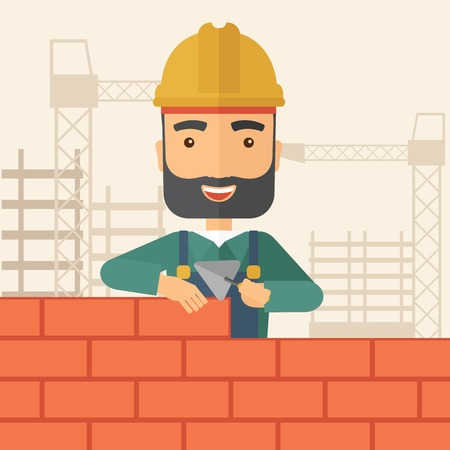 tinted: A smiling builder wearing a hard hat buiding a brick wall. A Contemporary style with pastel palette, soft beige tinted background. Vector flat design illustration. Square layout.