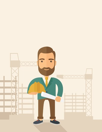 architect drawing: A happy young construction worker holding hard hat and blueprint plan. A Contemporary style with pastel palette, soft beige tinted background. Vector flat design illustration. Vertical layout with text sapce on top part. Illustration
