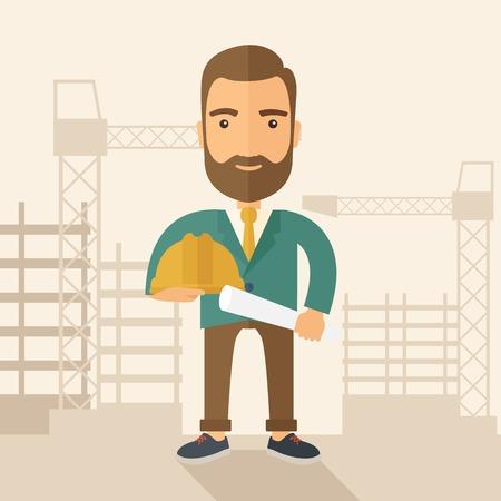 jeunes joyeux: Un jeune travailleur de la construction heureux holding casque et un plan de projet. Un style contemporain avec palette pastel, doux fond teint�e beige. Vector design plat illustration. Plan carr�.