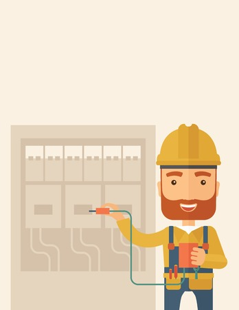 electrician: A hipster Electrician wearing hard hat repairing an electrical panel. A Contemporary style with pastel palette, soft beige tinted background. Vector flat design illustration. Vertical layout with text space on the top part. Illustration
