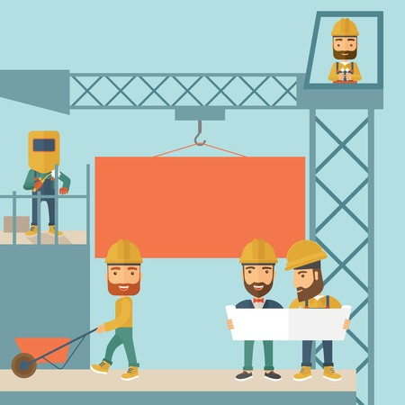 A experienced team workers with orange board wearing helmets . A Contemporary style with pastel palette, soft blue tinted background. Vector flat design illustration. Square layout. Illustration