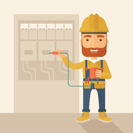 A hipster Electrician wearing hard hat repairing an electrical panel. A Contemporary style with pastel palette, soft beige tinted background. Vector flat design illustration. Square layout. Ilustrace