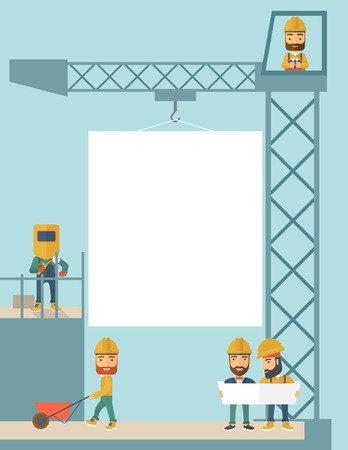 A experienced team workers with white board wearing helmets . A Contemporary style with pastel palette, soft blue tinted background. Vector flat design illustration.Vertical layout. Çizim