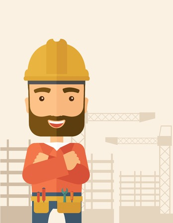 A hipster construction worker wearing hard hat for protection of his head. Working concept. A Contemporary style with pastel palette, soft beige tinted background. Vector flat design illustration. Vertical layout