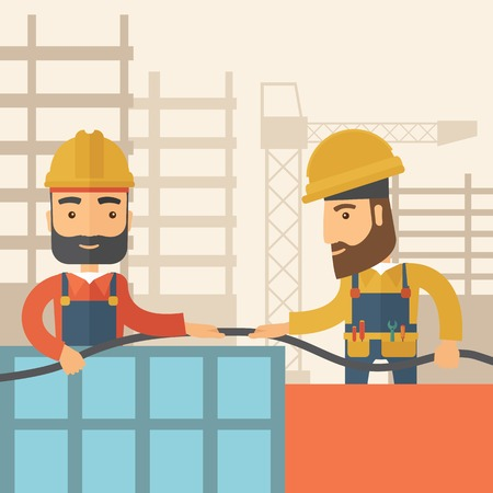 centimetres: A two hipster builders wearing hard hat for their safety ladders use for construction. A Contemporary style with pastel palette, soft beige tinted background. Vector flat design illustration. Square layout.