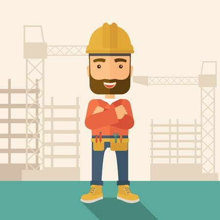 engineering tools: A hipster construction worker wearing hard hat for protection of his head. Working concept. A Contemporary style with pastel palette, soft beige tinted background. Vector flat design illustration. Square layout. Illustration