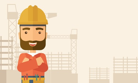 hard: A hipster construction worker wearing hard hat for protection of his head. Working concept. A Contemporary style with pastel palette, soft beige tinted background. Vector flat design illustration. Horizontal layout with text space in right side. Illustration