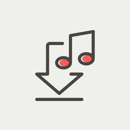 downloaded: Downloaded music icon thin line for web and mobile, modern minimalistic flat design. Vector icon with dark grey outline and offset colour on light grey background. Illustration