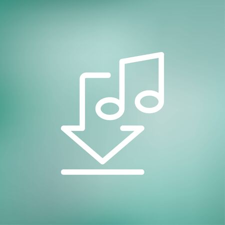downloaded: Downloaded music icon thin line for web and mobile, modern minimalistic flat design. Vector white icon on gradient mesh background. Illustration