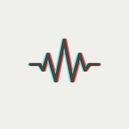 oscillate: Sound wave beats icon thin line for web and mobile, modern minimalistic flat design. Vector icon with dark grey outline and offset colour on light grey background. Illustration