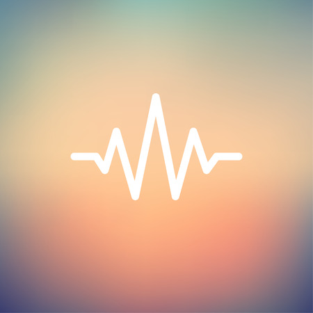 oscillate: Sound wave beats icon thin line for web and mobile, modern minimalistic flat design. Vector white icon on gradient mesh background.