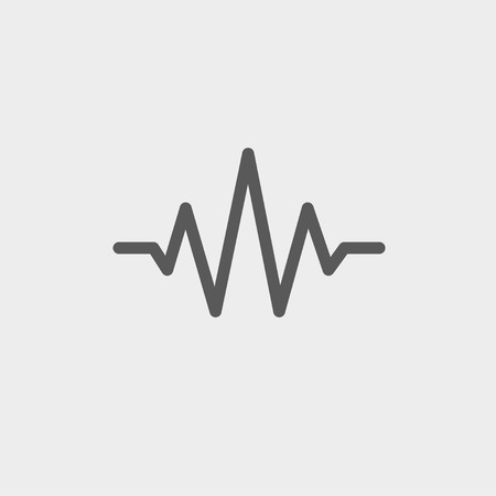oscillate: Sound wave beats icon thin line for web and mobile, modern minimalistic flat design. Vector dark grey icon on light grey background.