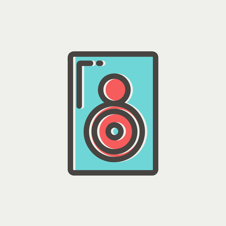 reverberation: Two way audio speaker icon thin line for web and mobile, modern minimalistic flat design. Vector icon with dark grey outline and offset colour on light grey background. Illustration