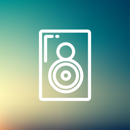 reverberation: Two way audio speaker icon thin line for web and mobile, modern minimalistic flat design. Vector white icon on gradient mesh background.